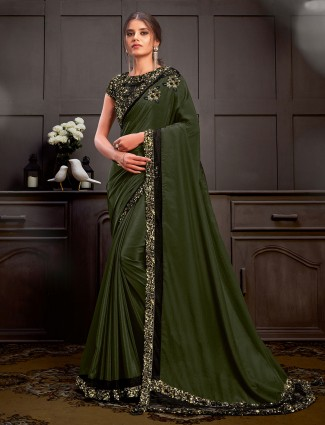 Latest green saree for party in silk georgette