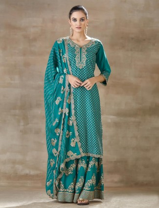 Latest green sharara set for party in cotton