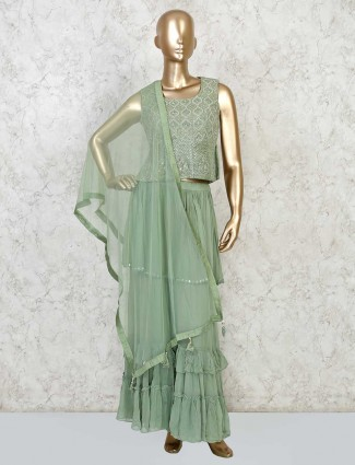 Latest green sharara set in georgette for party