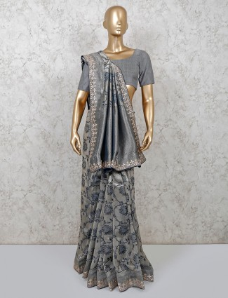 Latest grey deisgner banarasi silk wedding saree