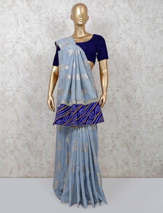 Latest grey festive wear dola silk saree