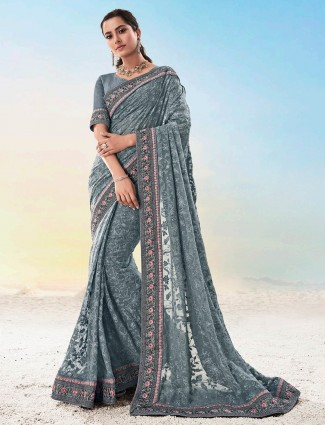 Latest grey georgette saree for party
