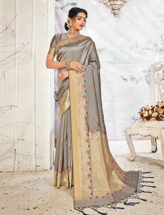 Latest grey handloom banarasi silk saree for festive