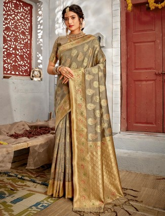 Latest grey handloom banarasi silk saree for women