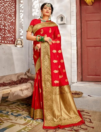 Latest handloom banarasi silk saree in red