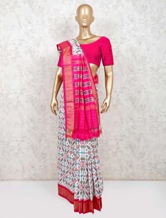 Latest hydrabadi patola silk saree for wedding in white