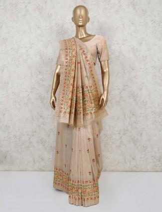 Latest light brown semi banarasi silk saree for party