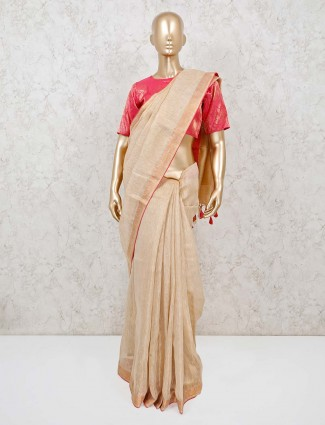 Latest linen beige saree with ready made blouse