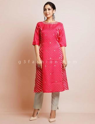 Latest magenta cotton festive kurti