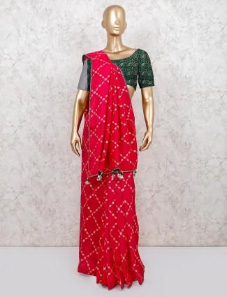 Latest magenta cotton silk wedding wear saree