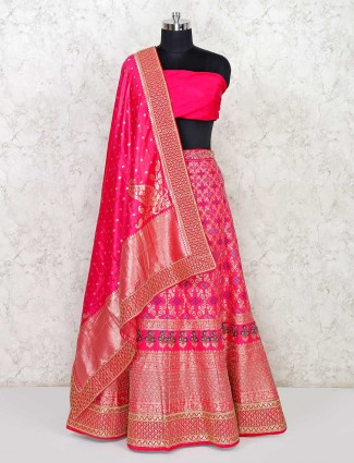 Latest magenta semi stitched lehenga choli in banarasi silk