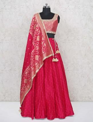 Latest magenta silk lehenga choli for wedding