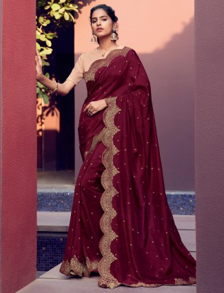Latest maroon cotton silk saree with contrast blouse