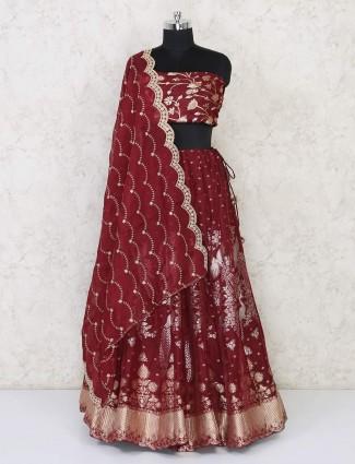 Latest maroon cotton silk semi stitched wedding lehenga
