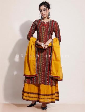 Latest maroon printed kurti in lehenga style for festival