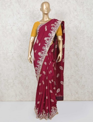 Latest maroon saree for wedding in dola silk