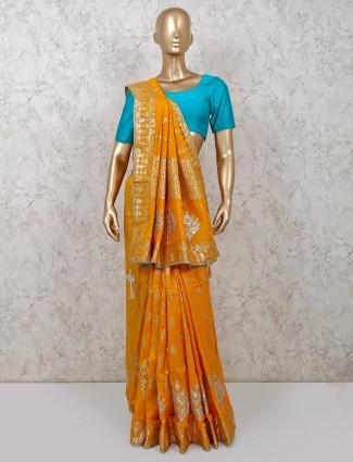 Latest mustard dola silk party saree