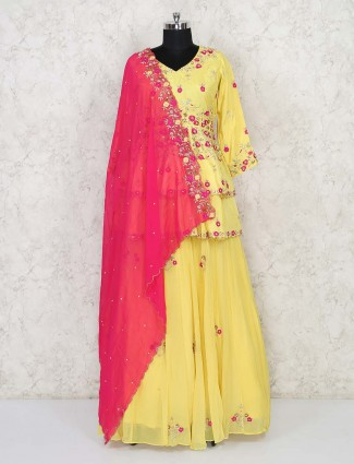 Latest mustard peplum top with lehenga in cotton