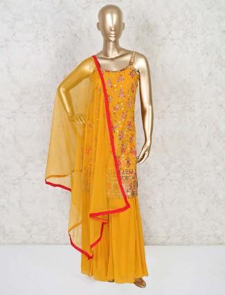 Latest mustard sharara set with dupatta for wedding