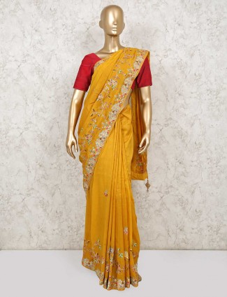 Latest mustard yellow cotton silk for reception