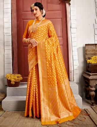 Latest mustard yellow handloom banarasi silk saree