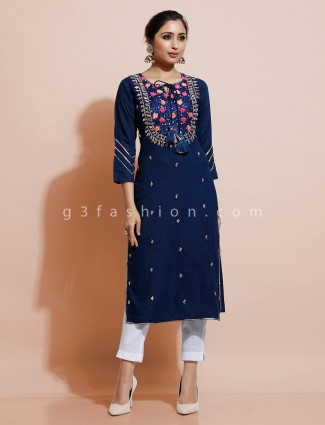 Latest navy blue cotton kurti with thread work