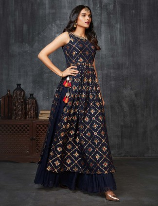 Latest navy floor length anarkali suit for weddings