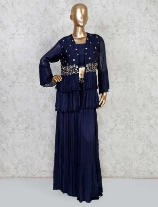 Latest navy lehenga style suit for party in georgette
