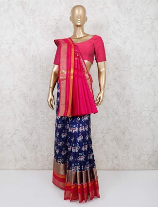 Latest navy patola silk festive wear saree