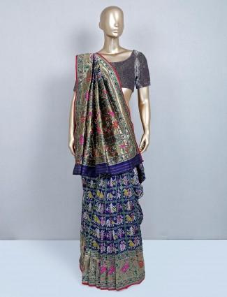 Latest navy patola silk saree for wedding