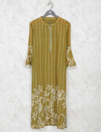 Latest olive colour cotton printed kurti for festive session