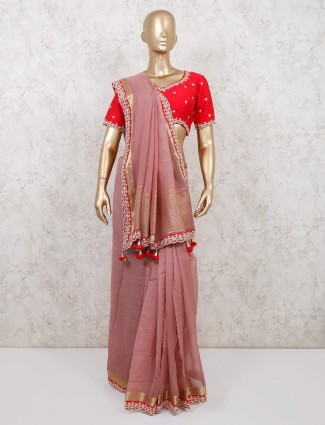 Latest onion pink organza tissue wedding saree with readymade blouse