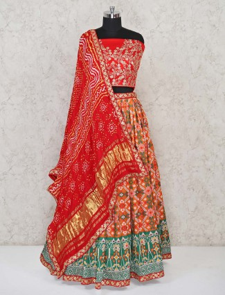 Latest orange and green patola sik semi stitched ghaghra for wedding