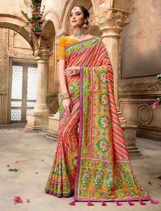 Latest orange multicolor leheriya pure patola silk wedding wear saree