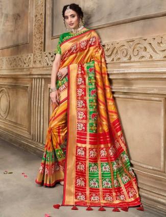 Latest orange pure patola silk saree for wedding