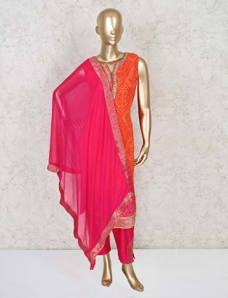 Latest orange straight kurti and pant set for festive in cotton