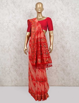 Latest peach and red leheriya patola silk saree for festival