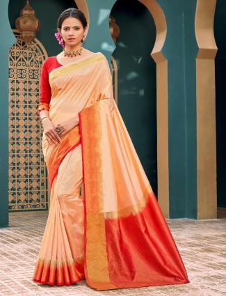 Latest peach cotton silk saree for festivals wear