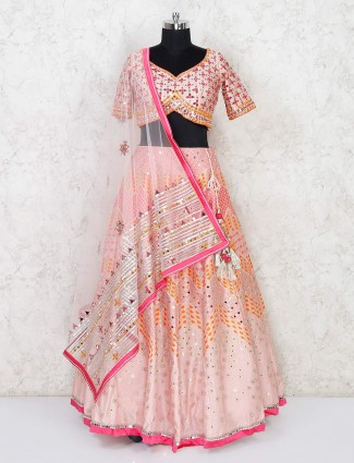 Latest peach designer lehenga choli for wedding in silk