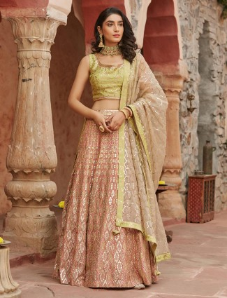 Latest peach lehenga choli in raw silk