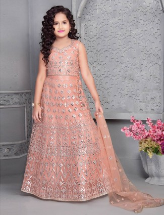 Latest peach net lehenga choli for your cute baby