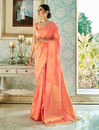 latest peach semi silk saree for wedding