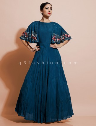 Latest peacock indo western dress in satin for party