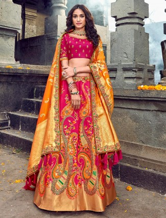 Latest pink and mustard silk lehenga for wedding bride