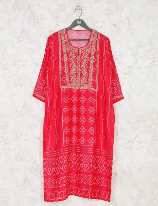 Latest pink bandhani printed cotton kurti for festive