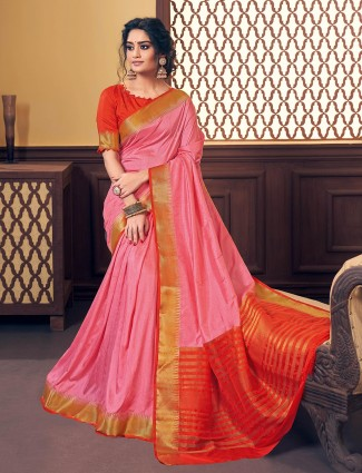 Latest pink cotton silk saree for festive