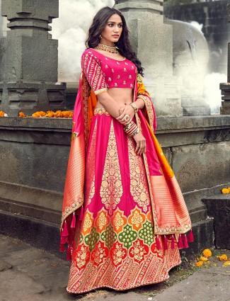 Latest pink designer banarasi silk lehenga choli for wedding