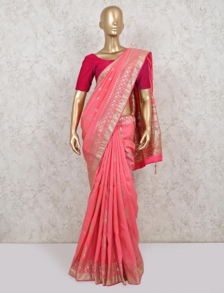 Latest pink dola silk for wedding function