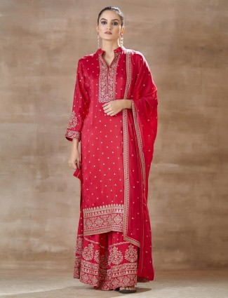 Latest Pink palazzo set in cotton for festival