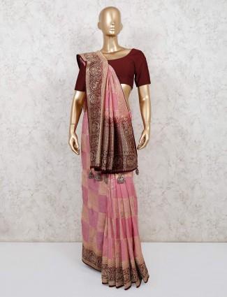 latest pink reception wear muga silk saree